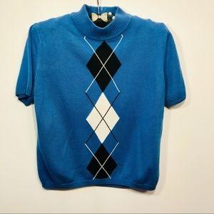 Vintage Blue Short Sleeve Blouse Small